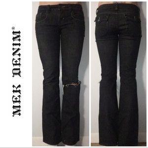 Dark Gray Black Low Rise Boot Cut Denim Jeans 27